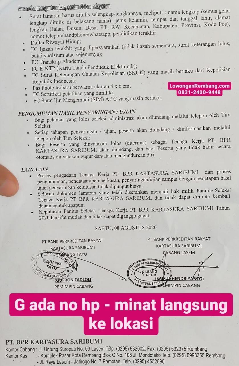 GRATIS Melamar Lowongan Kerja PT BPR Kartasura Saribumi Posisi Administrasi, Pemasaran, Satpam Tanpa Biaya Sepeserpun
