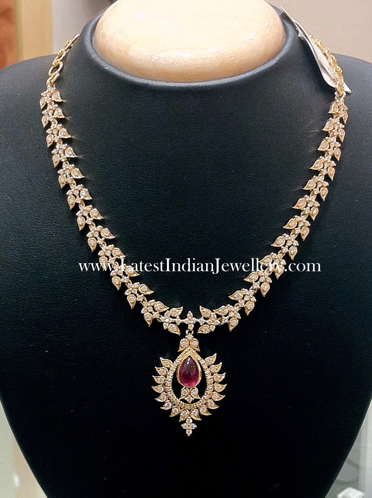 Diamond Necklace with Oval Ruby