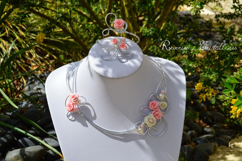 collier et bracelet fil aluminium et porcelaine