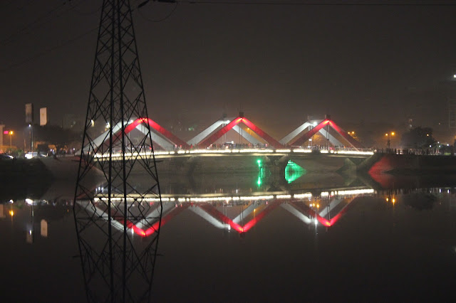 Hatirjheel bridge Red color light