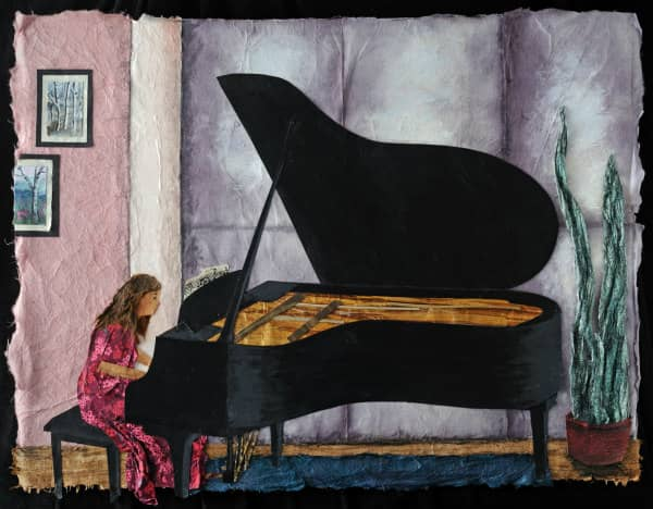 textured paper collage of young girl playing grand piano