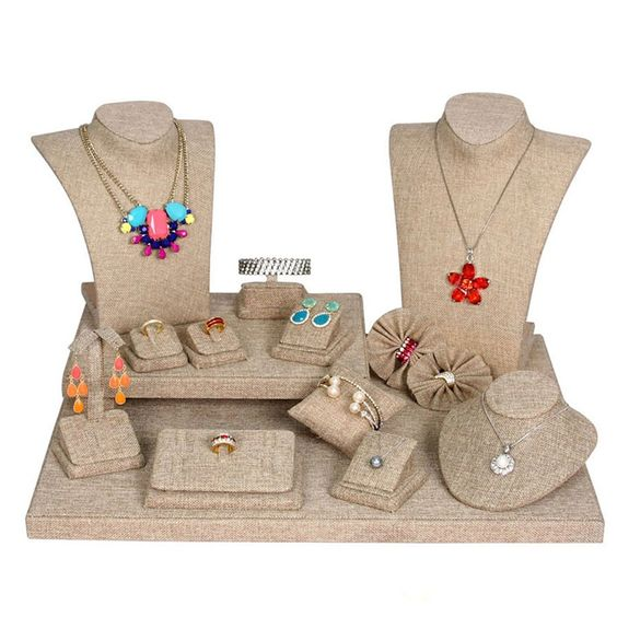 Burlap Jewelry Display 19-Piece Set