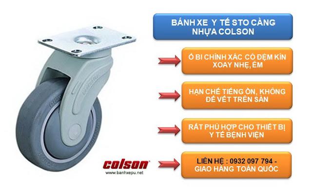 Bánh xe giường bệnh cao su chịu tải trọng 100kg | STO-6856-448 www.banhxepu.net