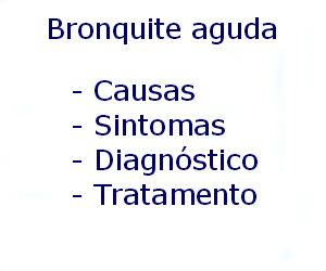 Bronquite aguda causas sintomas diagnóstico tratamento prevenção riscos complicações