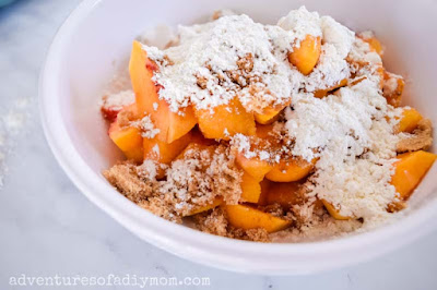 mixing the peach filling