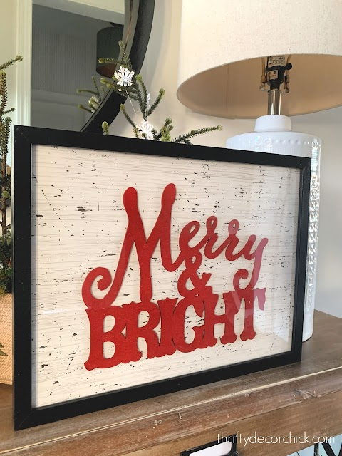 DIY merry and bright art with wrapping paper