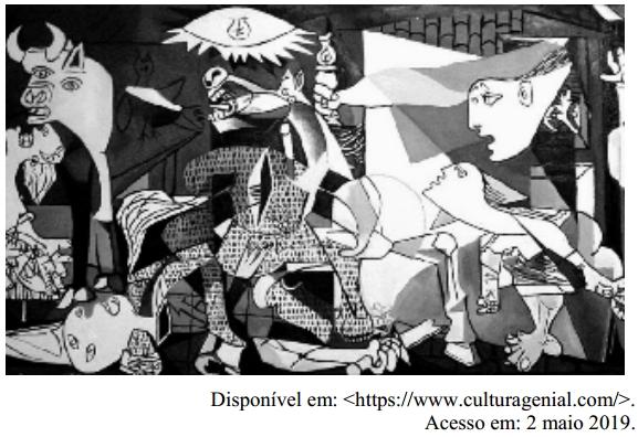 O quadro Guernica é uma pintura de Pablo Picasso que faz uma ilustração do período da Guerra Civil Espanhola