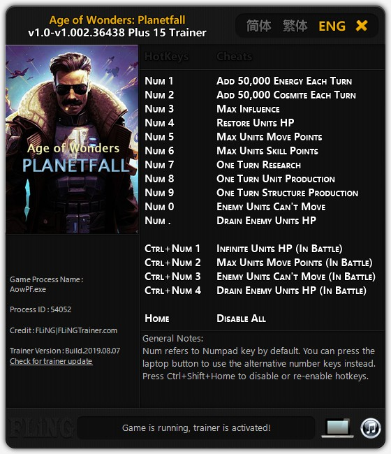Age of Wonders Planetfall (PC) Sınırsız HP - Enerji +15 Trainer Hile