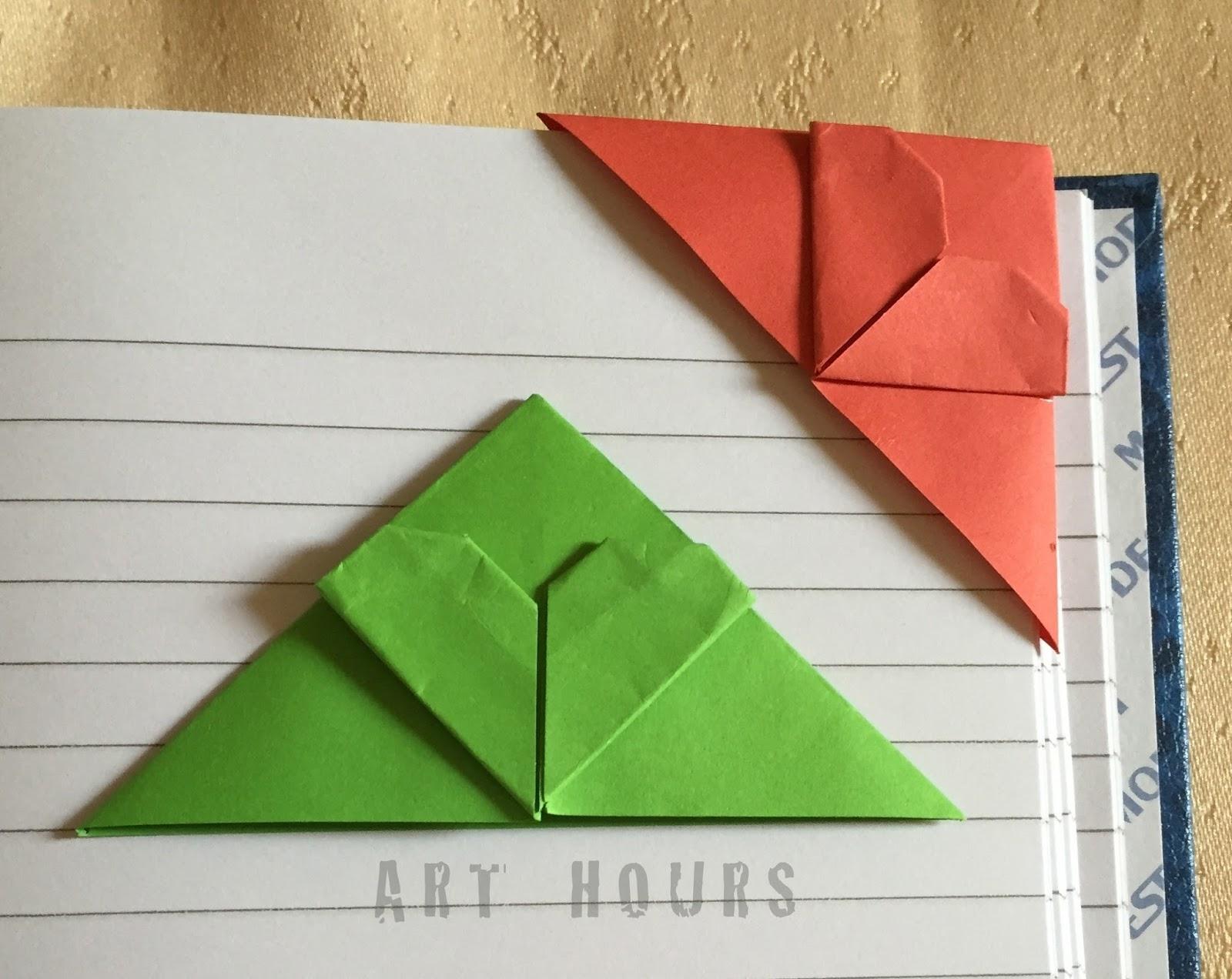 Origami Corner Heart Bookmarks