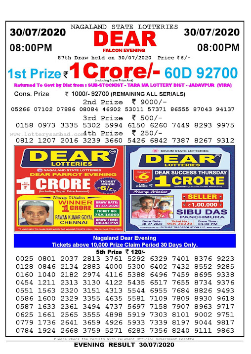 Nagaland State Lotteries 30-07-2020: Lottery Sambad Result 8:00 PM