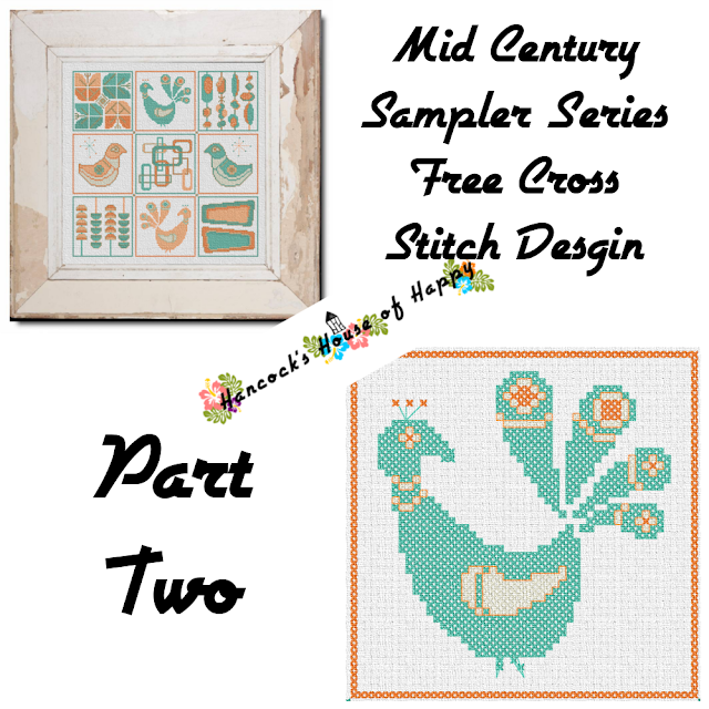Mid-Century Madness: Free Country Style Mid-Century Cross Stitch Sampler Design Part II