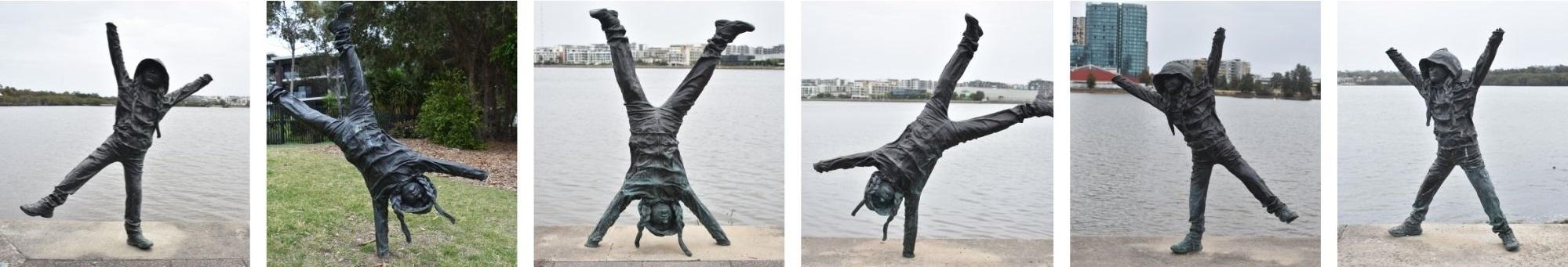 Rhodes Public Art   'Cartwheeling Youngster' Sculpture by Caroline Rothwell