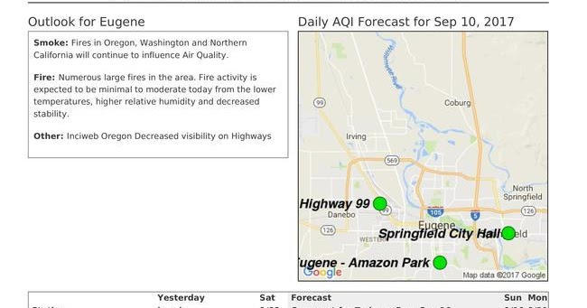 Oregon Smoke Information 9102017 Air quality outlook for Eugene