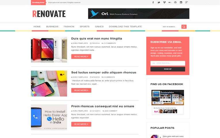 Renovate Free Blogger Template