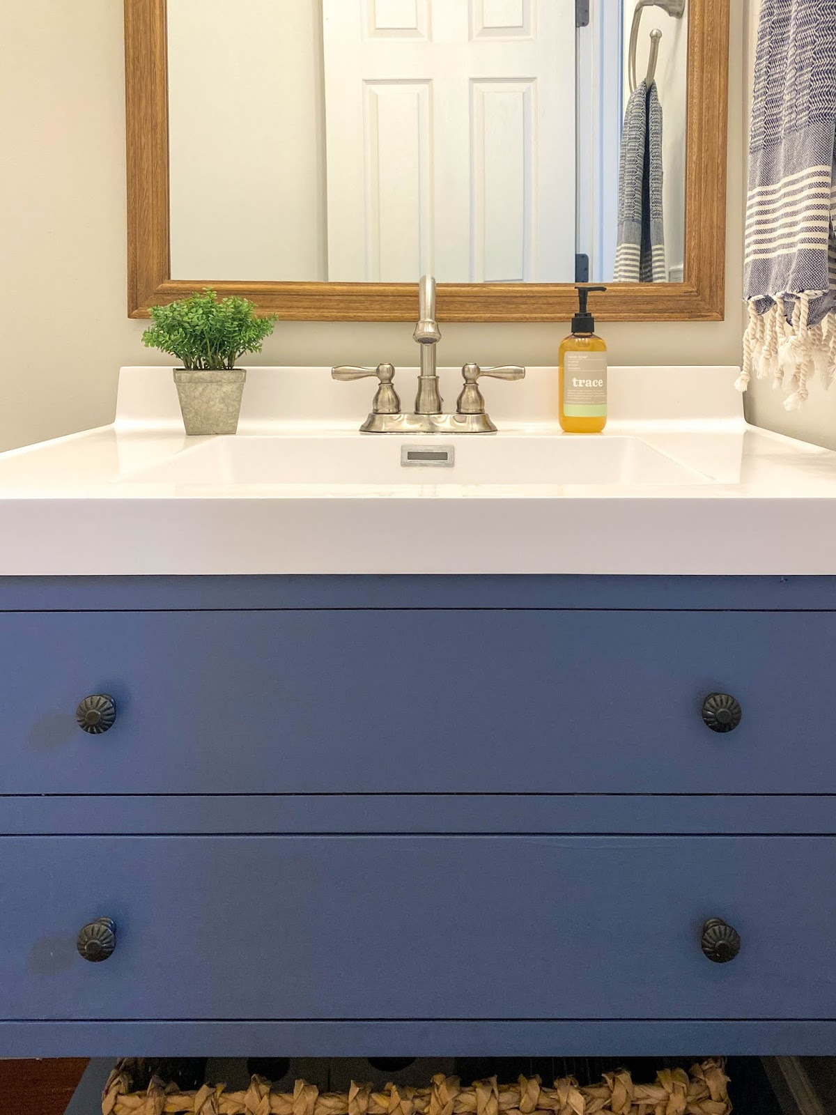 blue cabinets in powder room