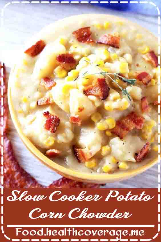 Potato Corn Chowder is creamy, thick, flavorful and easy to make in the slow cooker. This recipe for corn chowder features tender chunks of potato and creamy corn. Top it with crispy bacon for the most delicious chowder recipe!