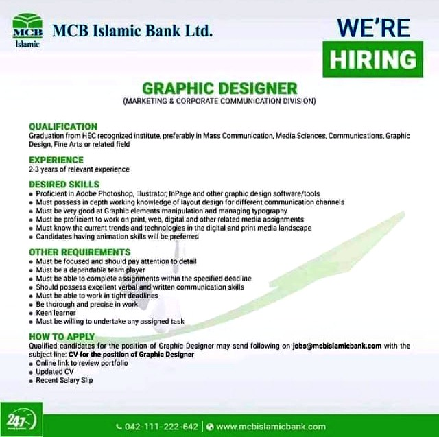 Latest Jobs in  MCB Islamic Bank  Limited 2021
