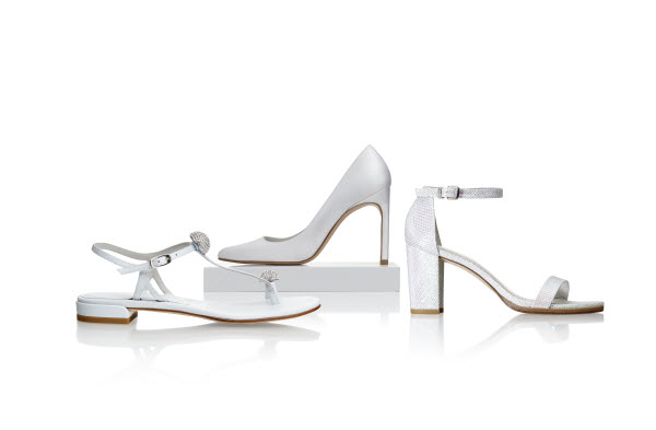 Stuart Weitzman Bridal Collection shoes in white: NOUVEAU classic pointed pump, NEARLYNUDE block heel sandal, BALLSOFFIRE flat sandal