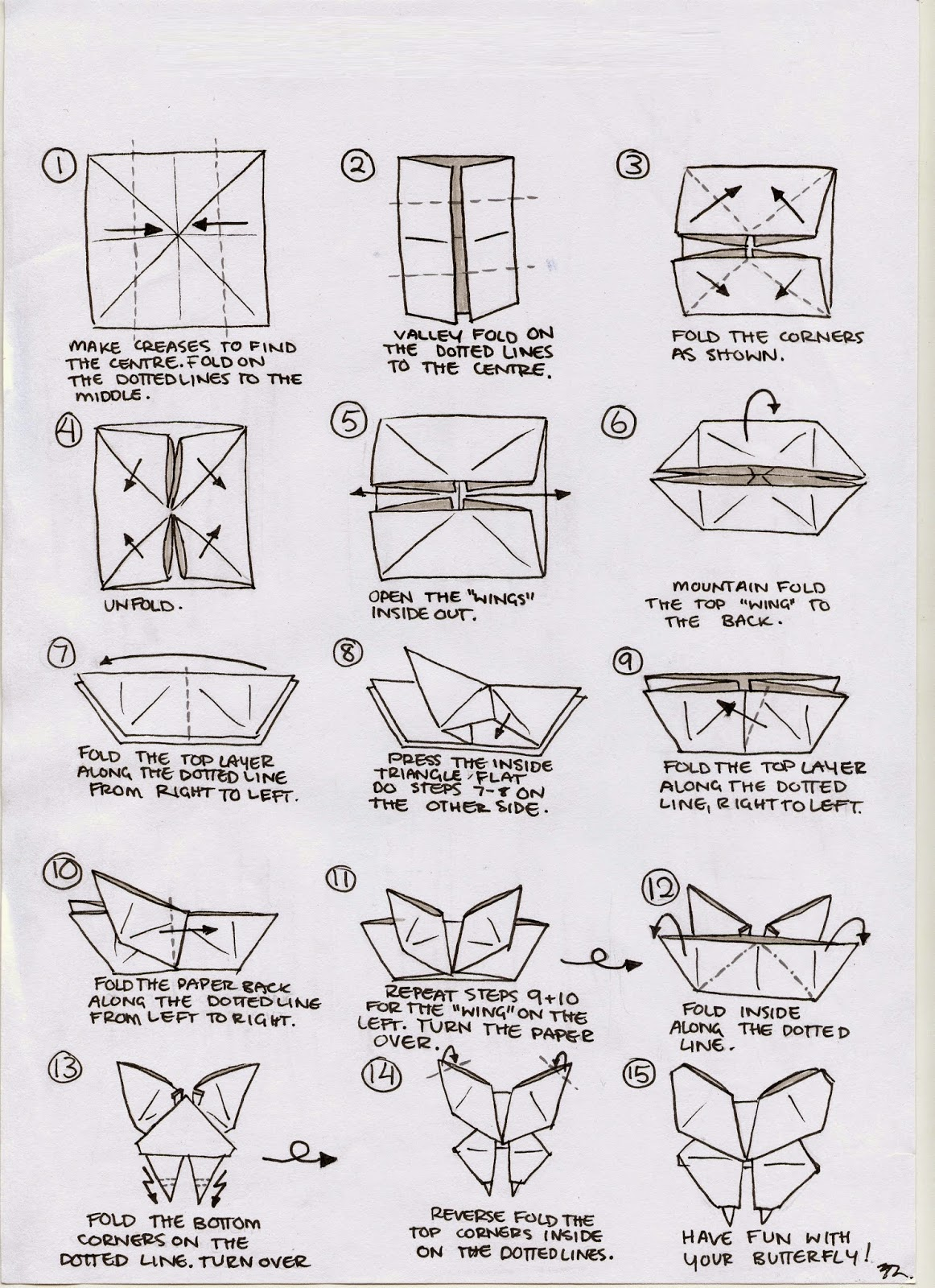 Printable Instructions For Origami Butterfly Easy