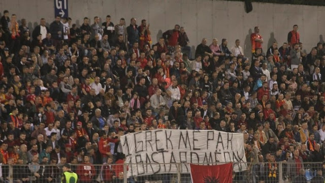 Partizani Club of Tirana fans' banner: one Greek, one bastard less! Referring Kacifas's murder