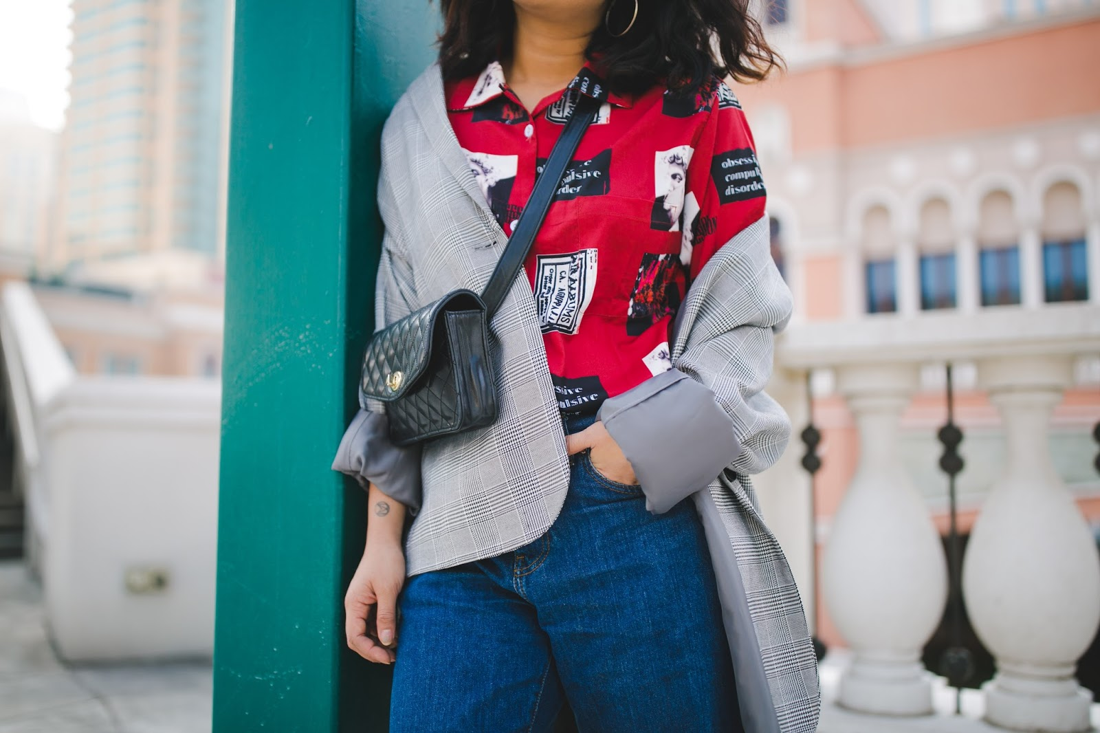macau fashion blogger wearing plaid and retro print