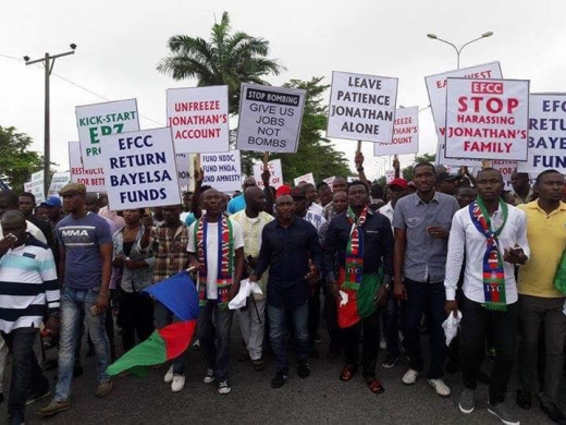 Photos: Ijaw youths protest alleged victimization of Goodluck Jonathan's family