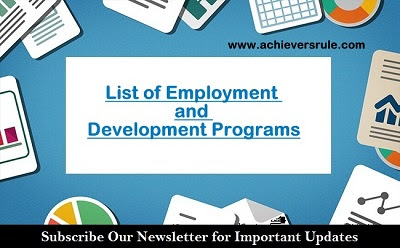 List of Employment and Development Programs - An Overview for SSC, SSC CGL
