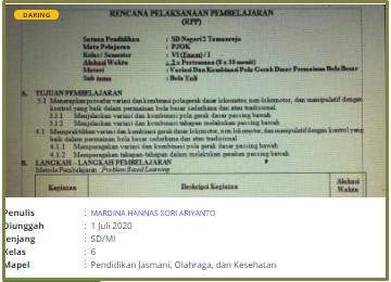 Download RPP Daring Pjok 6 SD