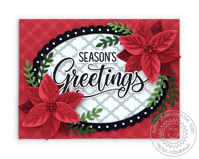 Sunny Studio Holiday Christmas Card (using Season's Greetings Stamps, Pristine Poinsettia, Winter Greenery, Scalloped Oval Mat 2, Stitched Oval & Frilly Frames Quatrefoil Dies, All Is Bright Paper)