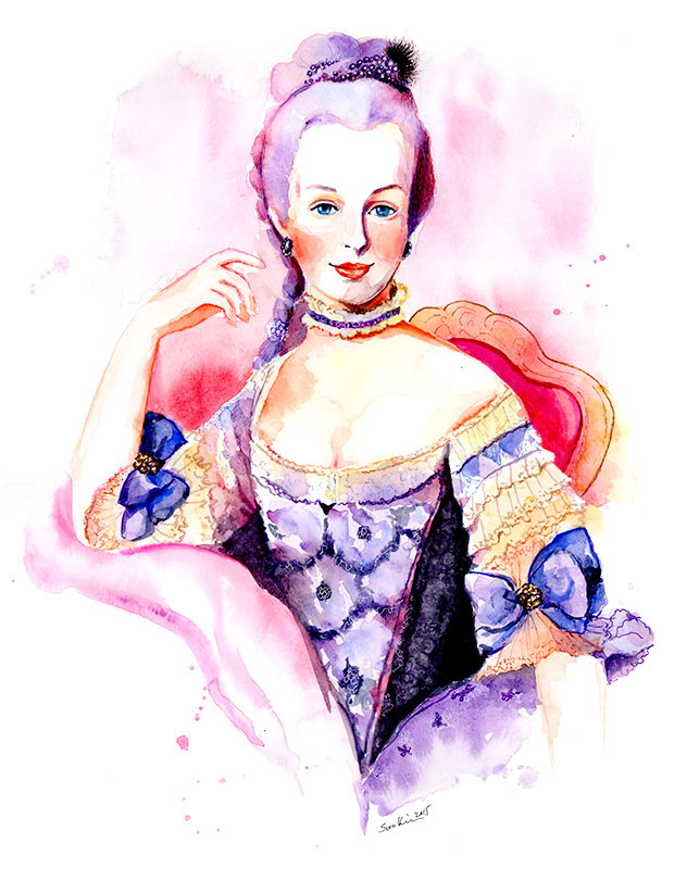 11-Marie-Antoinette-Rococo-18th-Century-Soo-Kim-Celebrity-Watercolor-Portraits-www-designstack-co
