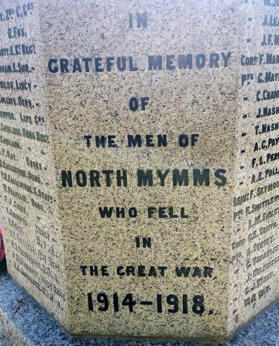 The North Mymms war memorial outside North Mymms Park just off Tollgate Road  Image by the North Mymms History Project released under Creative Commons