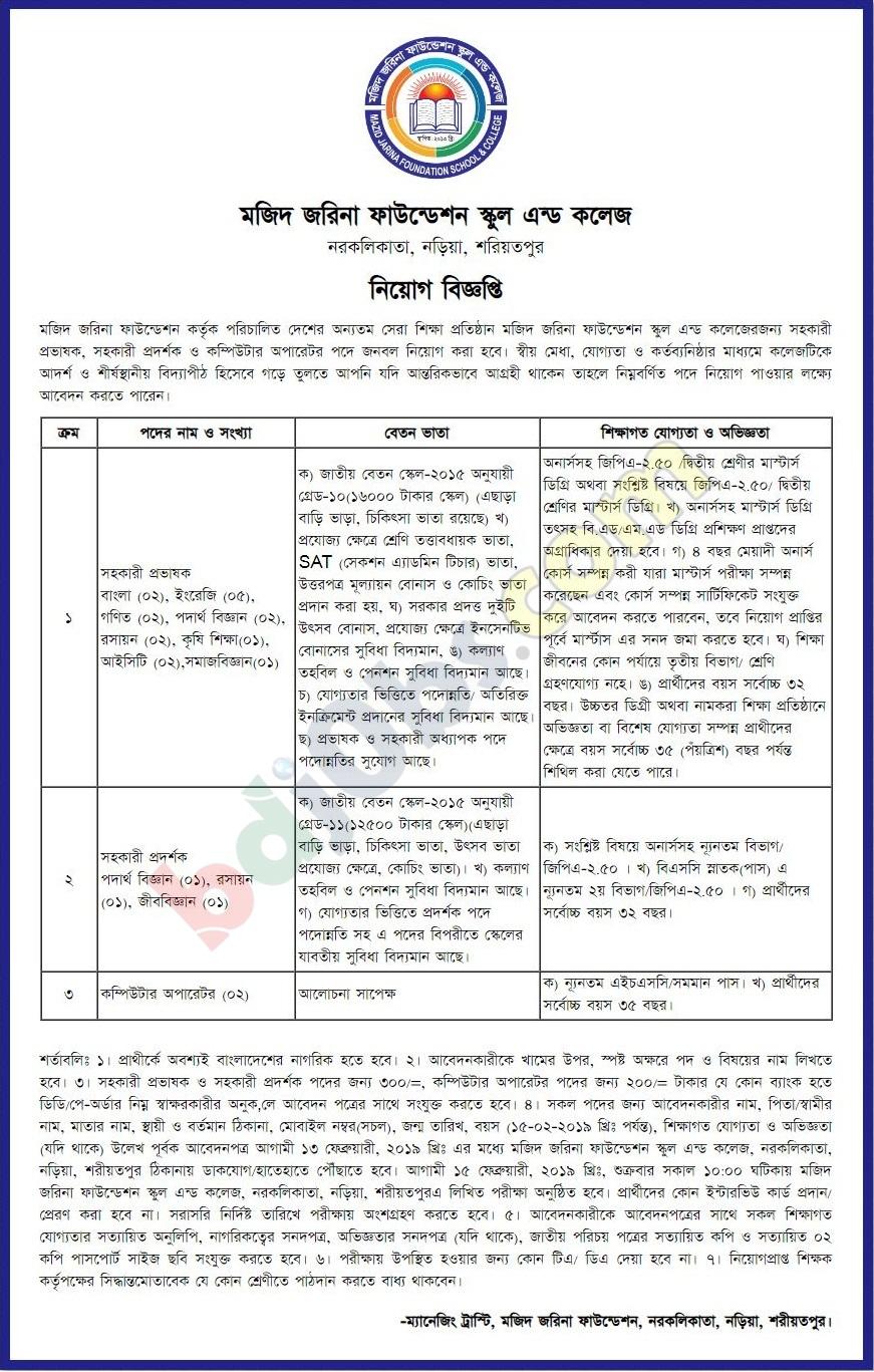 Majid Jarina Foundation School Job Circular - Study and Job