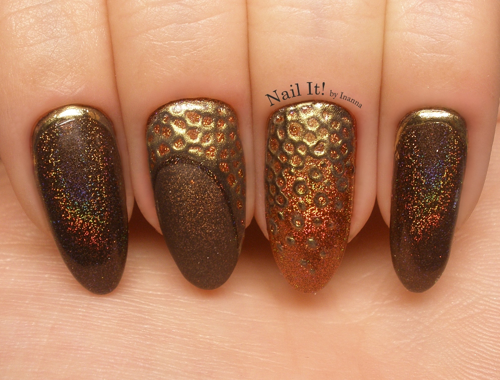 "New Indigo Nails Holo Effect ""Brown"" and ""Copper"" (+ Glammer Gold) - Nail Art"