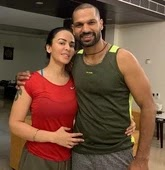 shikhar dhawan with her wife