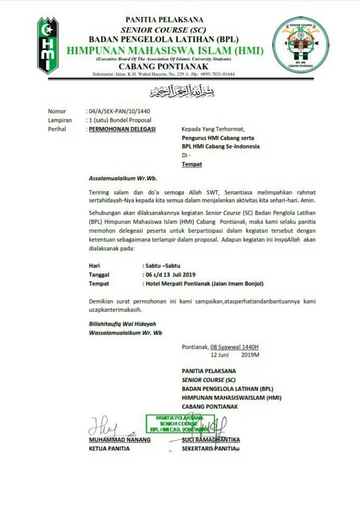 Badan Pengelola Latihanbpl Himpunan Mahasiswa Islamhmi