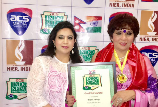 Dr. Bharti Taneja received the Indo Nepal Harmony Award for her contribution in the field of beauty