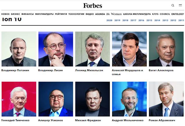 Друзья Путина – преуспевающие люди, чьи фамилии занимают почетные места в рейтинге Форбс