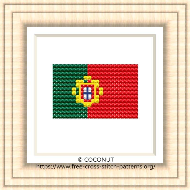 NATIONAL FLAG OF PORTUGAL CROSS STITCH CHART