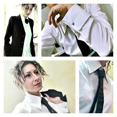 Foto di modella che indossa abiti maschili