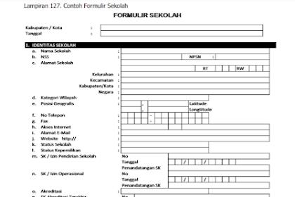Contoh Formulir Sekolah SD/SMP/SMA/SMK dan Sederajat