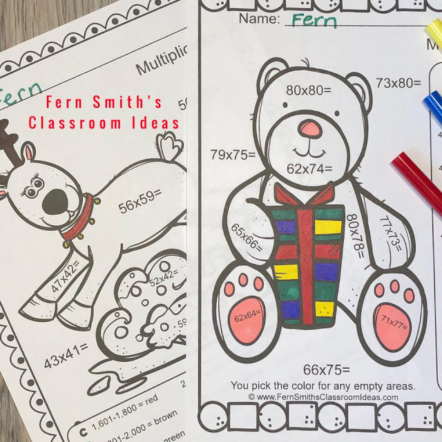 Five Christmas Critters Color By Number Advance Two-Digit by Two-Digit Multiplication Worksheet Printables, with Answer Keys Included. Your students will adore these Christmas Color  By Number resources while learning and reviewing important multiplication skills at the same time! You will love the no prep, print and pass out ease of these printables. Fern Smith's Classroom Ideas