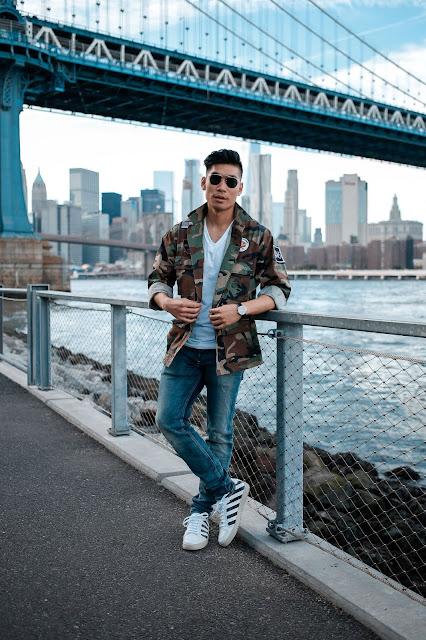 Leo Chan wearing Camo Shirt Jacket for Fall
