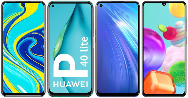 Xiaomi Redmi Note 9S 128 GB vs Huawei P40 Lite vs Realme 6 64 GB vs Samsung Galaxy A41