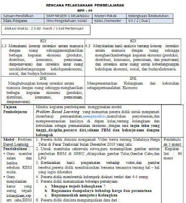 Contoh RPP Kelas 7 Semester Genap 1 Lembar Terbaru 2020