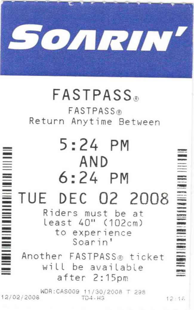 Soarin Fastpass Epcot Disney World 2008