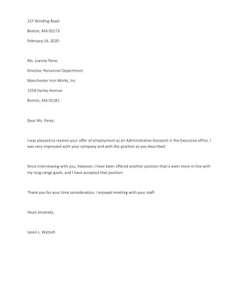 Rejection Letter Sample for Administrative Assistant