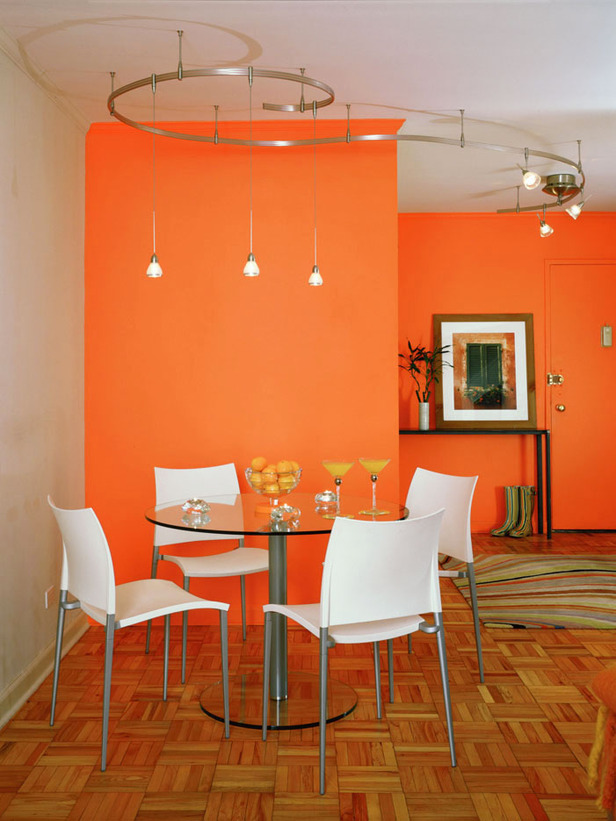 living room color schemes black leather couch 2 white cupboard modern house: dining in orange