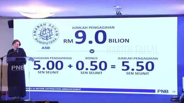 Pengerusi Kumpulan PNB, Tan Sri Dr. Zeti Aziz mengumumkan agihan pendapatan ASB 2019