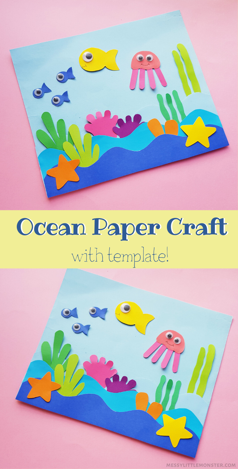 Easy ocean paper craft for kids (under the sea template included)