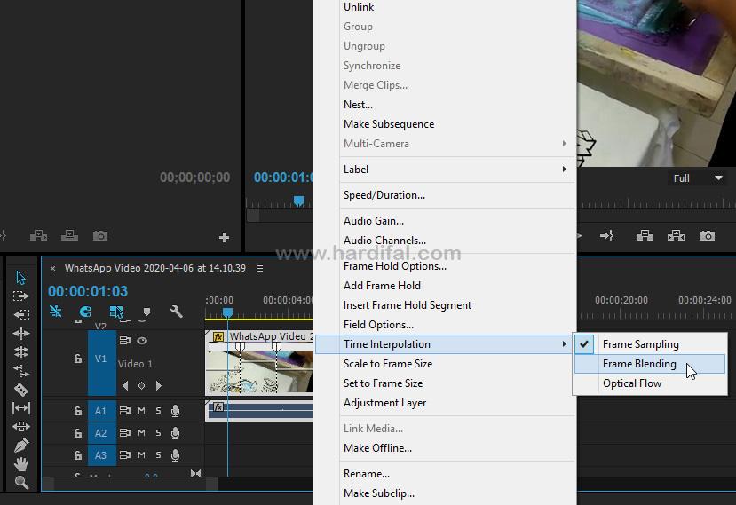 frame blending di adobe premiere pro cc